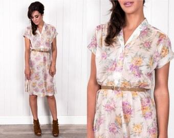 70s Shirt Dress Cream Floral Print Semi-sheer Crepe