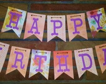 Happy Birthday Banner, Happy 1st Birthday, Pink and Purple Banner