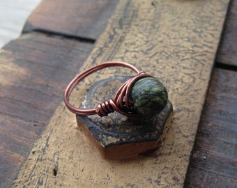 Russian Jade Wire Wrapped Ring (Sizes 5-9)