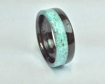 Wooden Ring Handcrafted In Wenge wood with Offset Turquoise Inlay