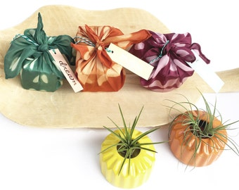 Furoshiki cloths, Fall colors, hand dyed, shibori, mini size, set of 3, assorted design, silk, unique gift wrapping, gift bag, burgundy