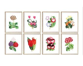 Botanical Art Print SET of 8. botanical print set, botanical prints set, botanical prints a4, flower prints 8x10, set of flower prints, wall