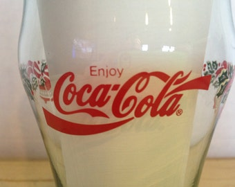 Coca Cola Holly Bells Christmas Coke Glass Vintage Tumbler Drinking Glass