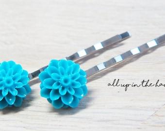 Blue Flower Bobby Pins - Dahlia Bobby Pins - Blue Bobby Pins - Blue Dahlia Bobby Pins