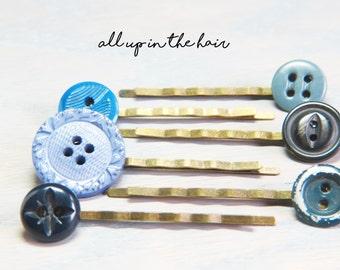 Blue Bobby Pins - Bobby Pin Lot  - Blue Button Bobby Pins - Stocking Stuffer - Christmas Gift