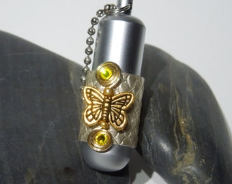 Gold Plated Butterfly Working Brush Aluminium Tube Lighter, wrapped in Metallic Snake Embossed Cowhide Leather,  Keychain or Necklace.