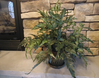 "Potted Plant Fern ""Silk"" Plant in Green and Brown Ceramic Pot Multi Toned Realistic Silk Plant #411"