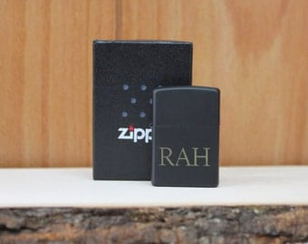 Personalized Laser Engraved Black Matte Zippo Lighter- groomsmen gift- valentines gift