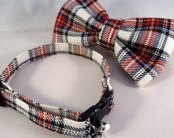 Cat Collar optional bow // White and red tartan