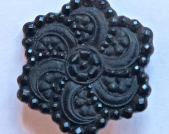 Black Glass Realistic Flower Button