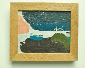 Minimalistic seascape. Windmills and cargoship. Acryl painting, wooden frame, +/-  16 x 20 cm.