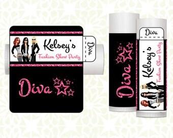 Lip Balm Labels - Birthday Lip Balms, Fahion Party Lip Balm Labels, Personalized Lip Balm Labels, Lip Balm Favors, Birthday Party Favors