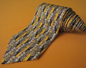 Lancel Tie Pure Silk Wheel Novelty Pattern Yellow Vintage Designer Dress Necktie Made In France