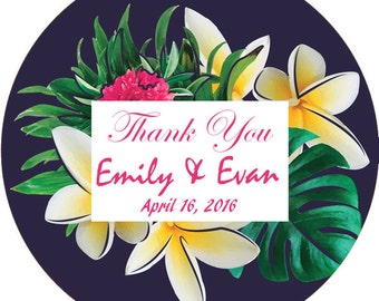 Floral Thank You Stickers, Flower Thank You Labels, Wedding Favor Labels, 2 Inch Wedding Stickers,  Floral Wedding Stickers