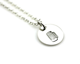 BEER LOVER NECKLACE Hand Stamped Sterling Silver