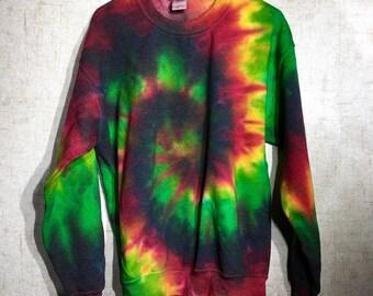 Tie Dye Sweatshirt - Rasta Tie Dye Hoodie - Rasta Tie Dye Fleece - Custom Made to Order Tie Dye Crewneck Sweatshirt