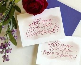 bridesmaid & maid of honor cards // lavender/plum