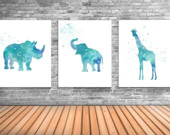 Safari Animal Posters, Animal Wall Art, Set of Three, Rhino, Elephant, Giraffe - AS23