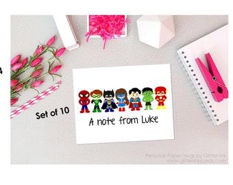 Set of 10 Personalized Superhero Stationery - Superhero Note Cards - Superhero Thank You cards - Superhero notecards