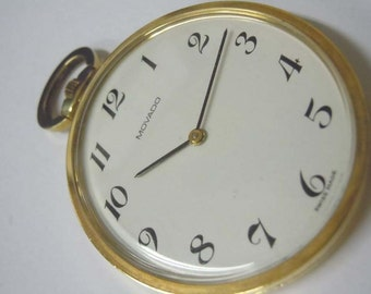 14kt Gold Movado Arabic Numeral Oval Dial Pocket Watch 20th Century Modern