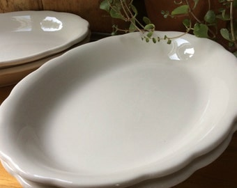 Vintage Buffalo China Scalloped Edge Plate, Ironstone Platter