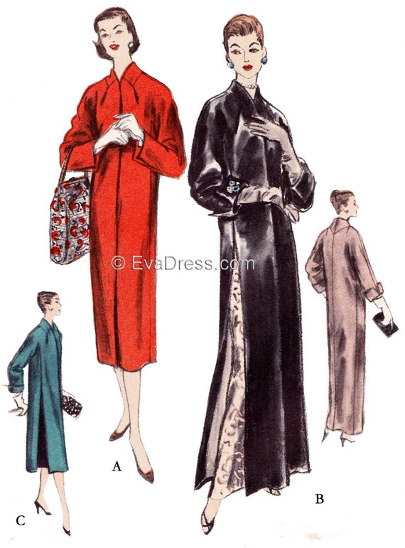 1950s Sewing Patterns | Swing and Wiggle Dresses, Skirts 1957 Vogue Kimono Day or Evening Coat EvaDress Pattern $28.00 AT vintagedancer.com
