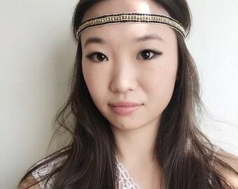 On Sale NEW womans fashion black gold beadsl thin skinny stretch boho headband