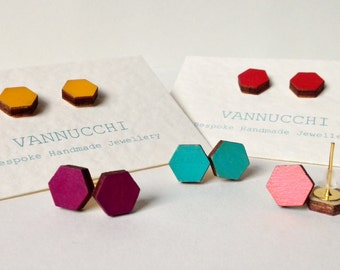 Hexagonal Birch wood Earrings