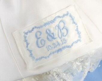 Custom Embroidered Vine Wedding Dress Label