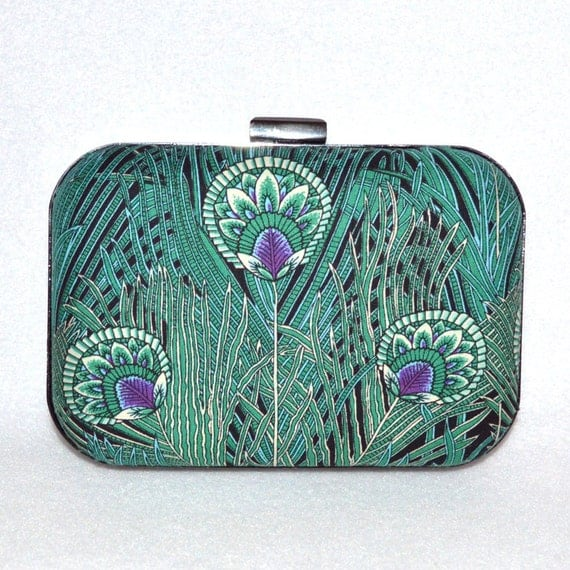 Peacock Box Clutch, Purple and Teal Clutch, Box Clutch Green, Bridesmaid Clutch, Designer Handbag, Peacock Handbag