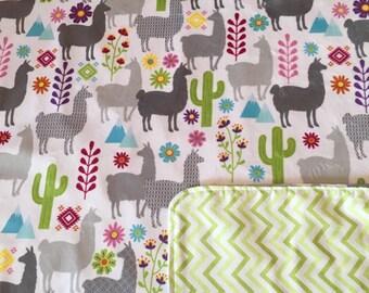 Luxurious Minky Llama Receiving Blanket