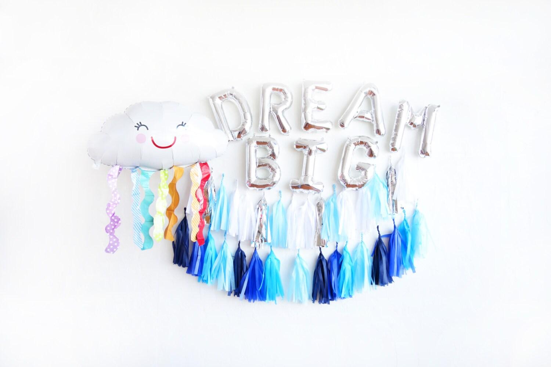 Dream big cloud balloon party box rainbow cloud balloon for Silver cloud balloons