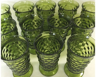 Vintage Avocado Green Whitehall Glasses, Set of 12, Retro Indiana Footed Tumblers, Indiana Glass Co. Glasses, Drinkware, In ORGINAL BOX.