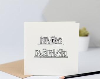 Happy Birthday books card, monochrome, simple, black & white, hand drawn, illustration, literature, book, reading, writer, CODE- CL2