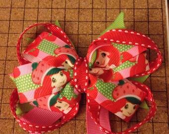Strawberry shortcake hair bow
