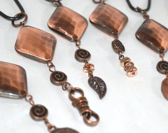 "Copper Shower Curtain Hooks, Roller Ball Hooks, Hammered Copper Diamond, 3"" Dangles-Handcrafted/Handmade,Set of 12,Bath Jewelry"