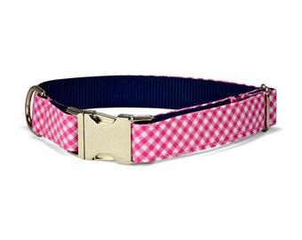 Pink Gingham Dog Collar, Southern Dog Collar, Girly Dog Collar, Hot Pink Dog Collar, Gingham Dog Collar, Stylish Dog Collar, Gift For Dog