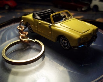 custom made stock keychain 1969 vw karmann ghia convertable type 14,gloss yellow w/black tires on silver hub caps/repaint mint