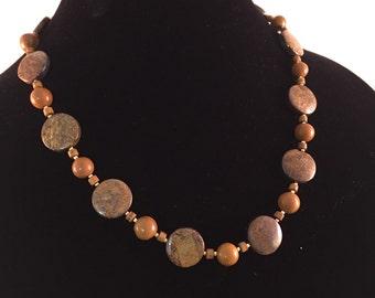 Bronzite natural stone necklace