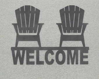 """16"""" Welcome Sign With Two Adirondack Chairs Silhouette Wood Plaque Art Decor"""