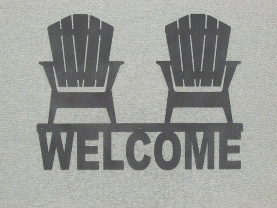 sign with two adirondack chairs silhouette wood plaque art decor