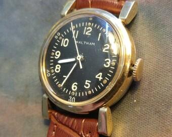 Waltham 1942 Military 16J Hack Civilian Cased Nice Period Black Dial Mens Watch