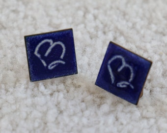 Cute Vintage Copper And Cobalt Blue Enamel Tile Earrings