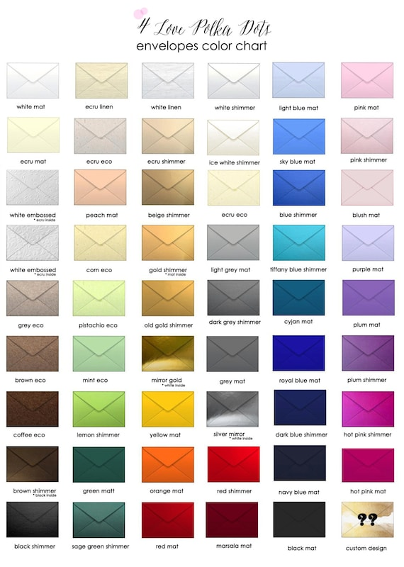 Paper Color Chart, Envelope Color Chart, Ribbon Color chart, Thread color chart , Fonts Chart www.4lovepolkadots.com