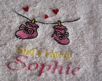 Personalised embroidered  Shes Here Hooded bath towel (100% cotton)