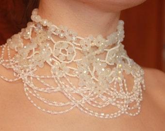 Fringe Wedding Necklace Bohemian wedding evening necklace bead lace Shoulder Necklace Statement Choker White Wedding Choker Wide Choker