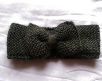 Knit Bow Headband - Dark Green