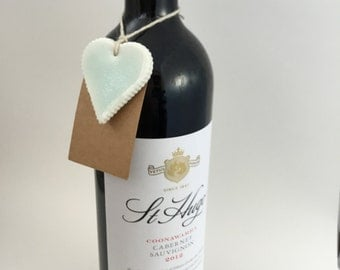 Porcelain heart shaped gift tag