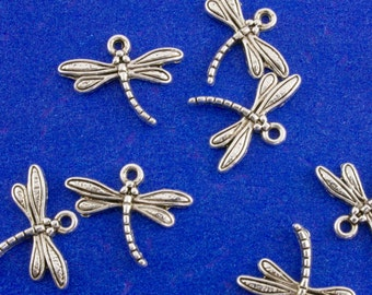 15 pcs -Antiqued Silver Dragonfly Pendants 15mm x 17mm, Dragon Fly Charm, Small Dragonfly Charm, Insect, Bug 15x17mm- AS-B00047