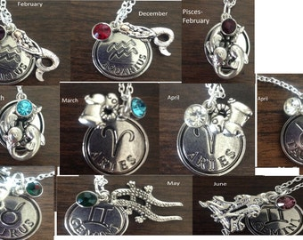 Zodiac Birthstone Necklaces